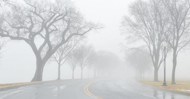 A foggy road